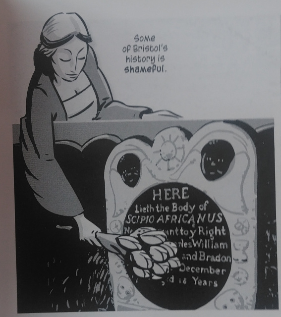 The reference to Bristol's shameful history in the book, with a depiction of the grave.