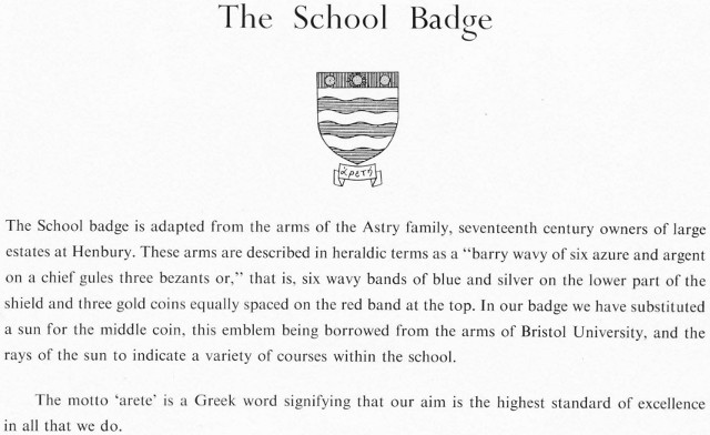 About the school badge, from the 1958 opening day programme for Henbury School