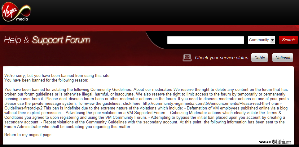 Virgin Media 2nd Ban Notificiation