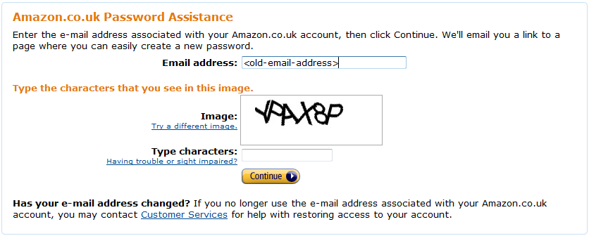 amazon.co.uk forgotten password screen