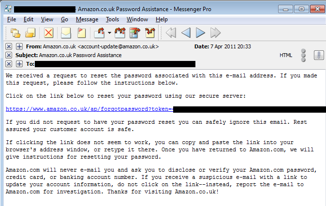 amazon.co.uk password reset email