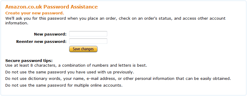 amazon.co.uk password reset screen