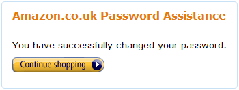 amazon.co.uk changed password screen