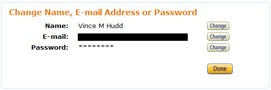 "Amazon's ""Change Name, E-mail Address, or Password"" page"