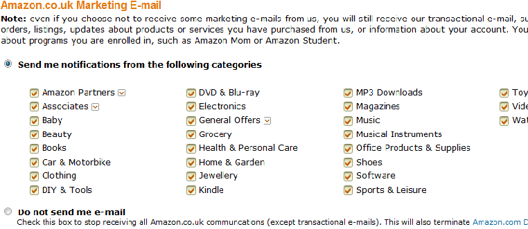New Amazon account promotional e-mail preferences