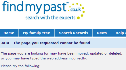 "findmypast.co.uk's ""no spam guarantee"" - a 404 page"