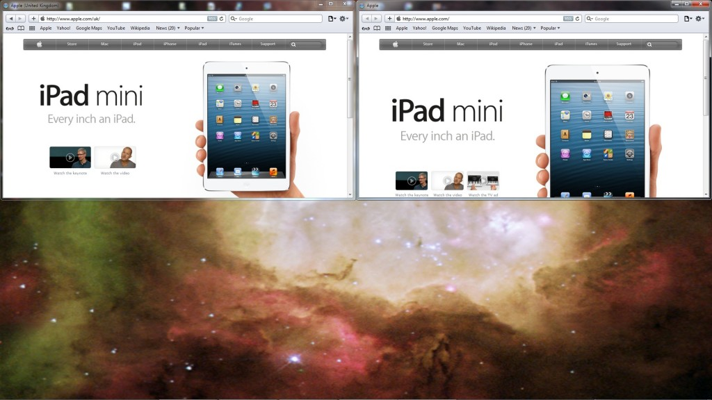 Apple's UK and main homepages, side by side, at roughly half my screen height