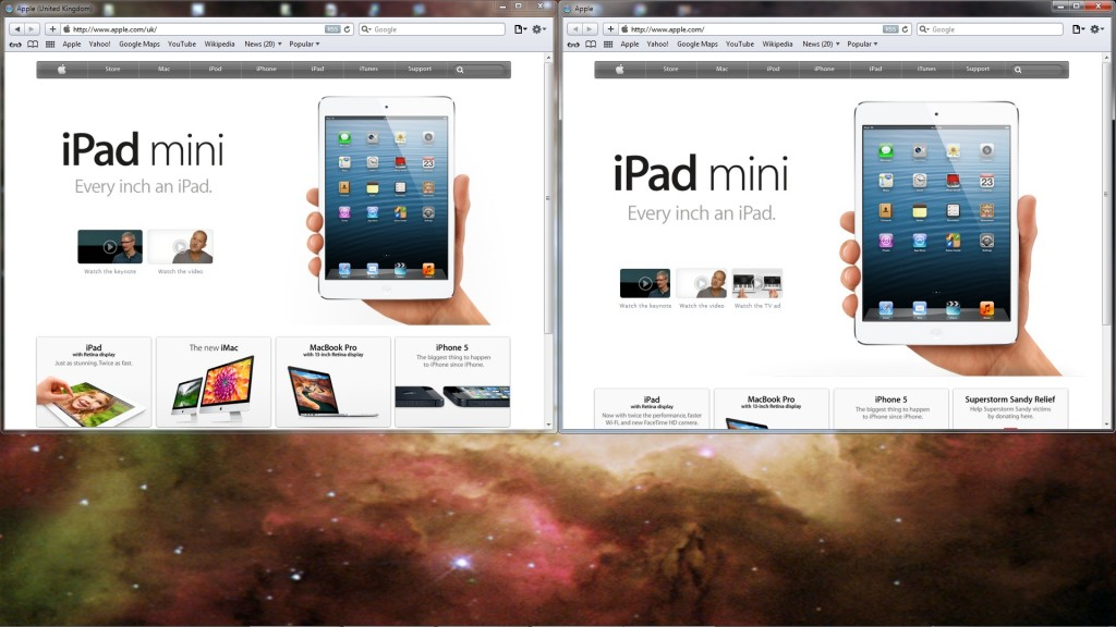 Apple's UK and main homepages, side by side, now taller