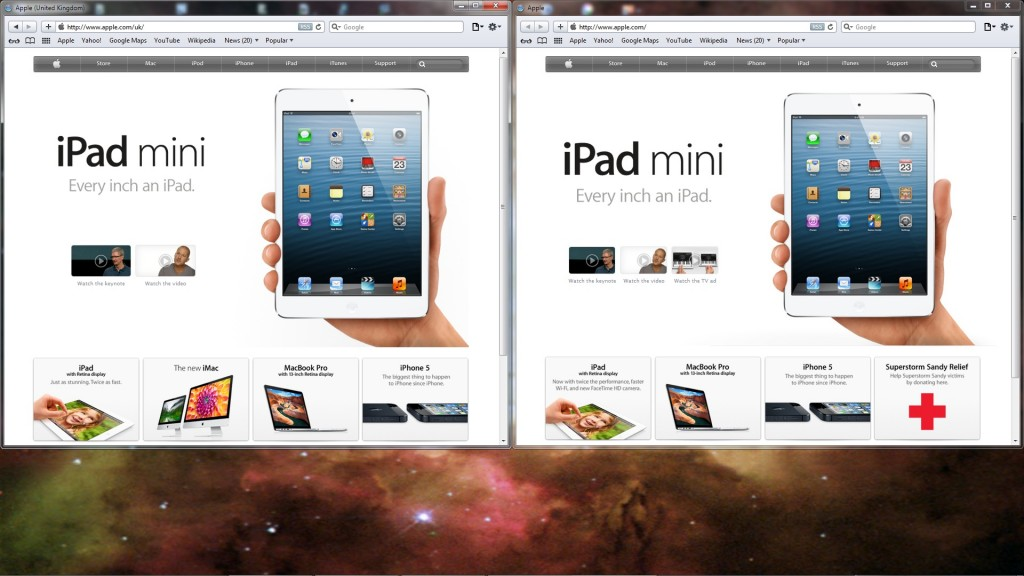 Apple's UK and main homepages, side by side, now taller still