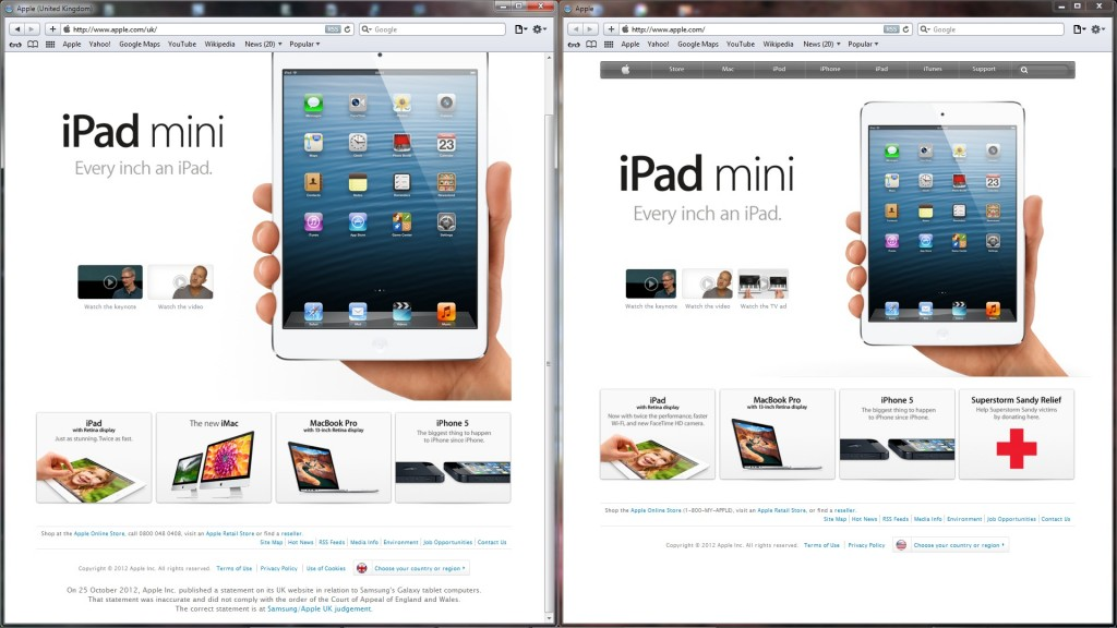 Apple's UK and main homepages, side by side, now at the full height of my screen (1080p), with the UK site scrolled