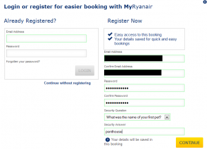 The form for setting up an account on the Ryanair website