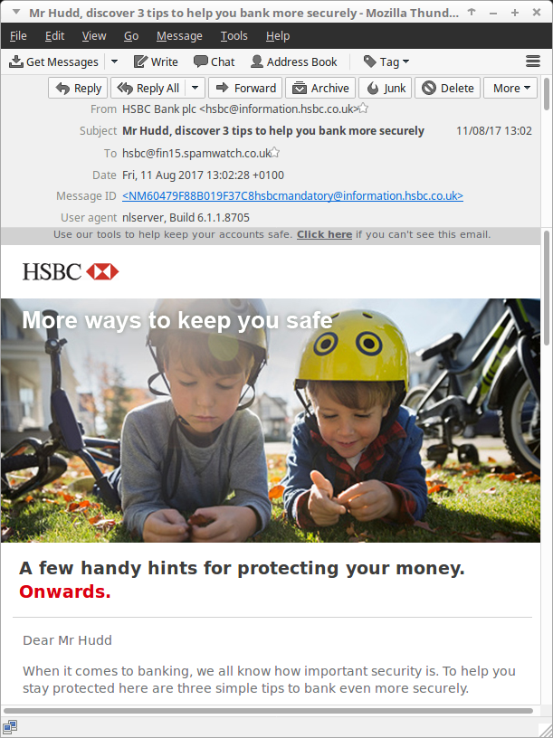 HSBC's '3 security tips' email