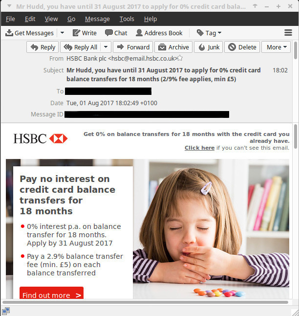 HSBC spam email, offering 0% balance transfers