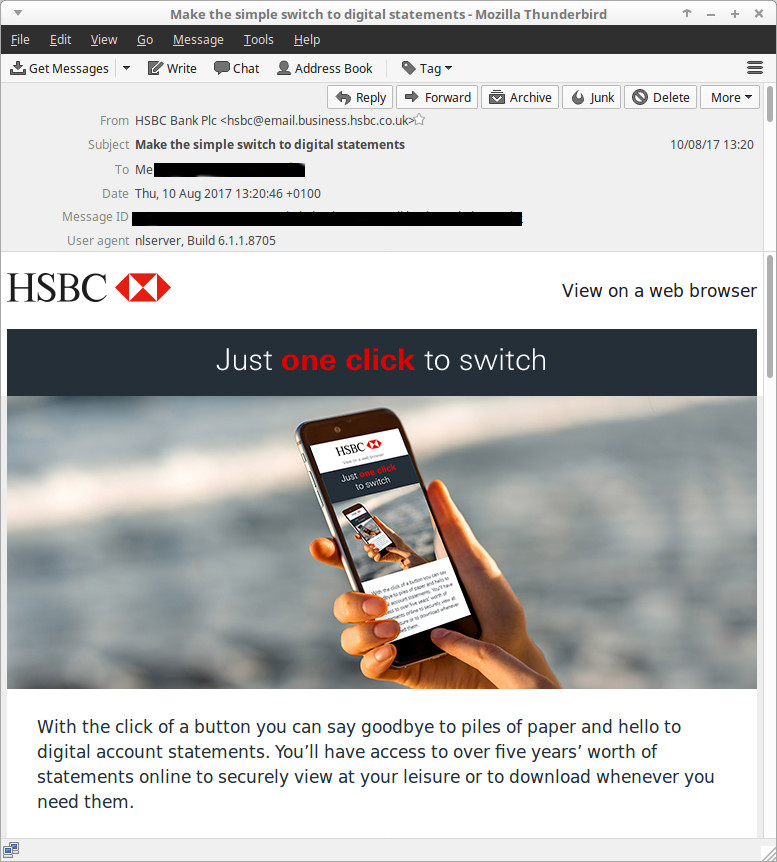HSBC Business Banking email about switching to online statements