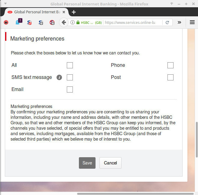 My HSBC marketing preferences, with nothing ticked. Because I don't want any marketing.