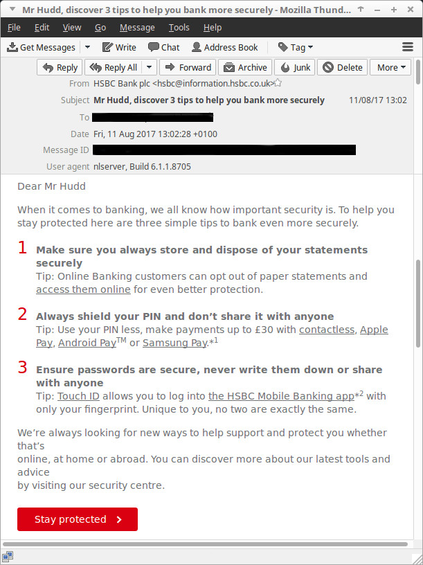 The main content of HSBC's '3 security tips' email